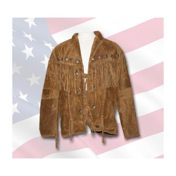 Hommes en Daim Marron Western Cowboy Veste en Cuir avec frange