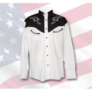 chemise western homme mod le oregon blanc america western life. Black Bedroom Furniture Sets. Home Design Ideas